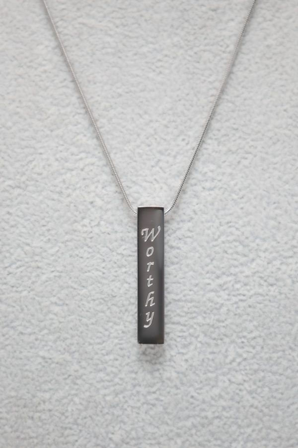 Vertical Silver Bar Necklace – Worthy