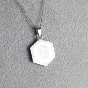 Silver Hexagon Pendant Courage
