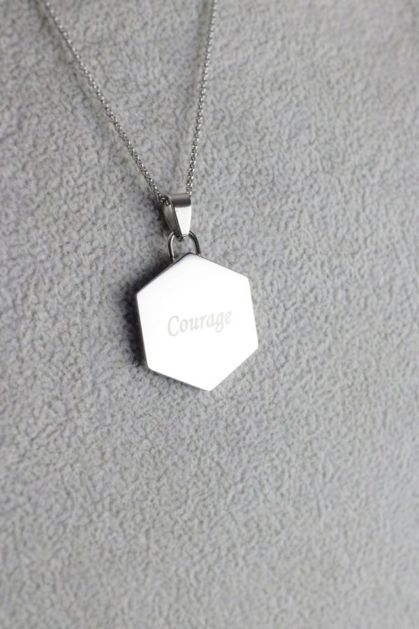 Silver Hexagon Pendant Courage