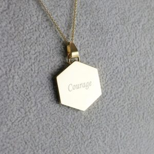 Gold Hexagon Pendant - Courage