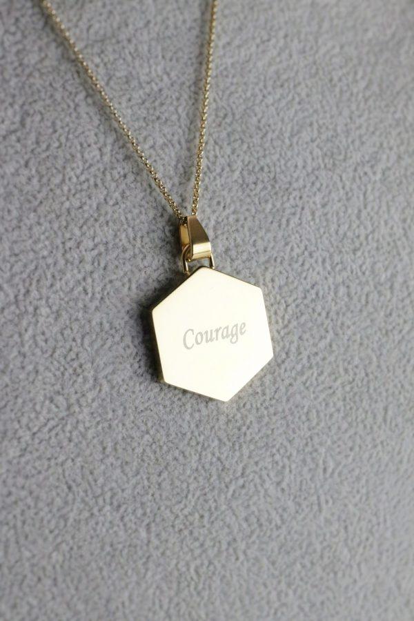 Gold Hexagon Pendant - Courage