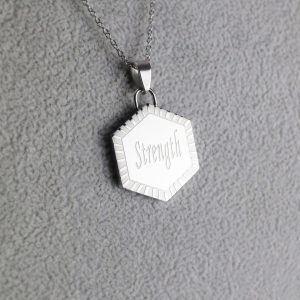 Silver Hexagon Pendant and Chain – STRENGTH
