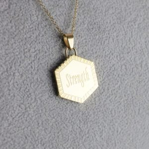 Gold Hexagon Pendant and Chain – STRENGTH
